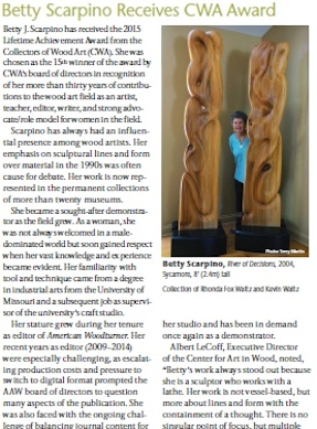 Collectors of Wood Art Lifetime Award Betty Scarpino