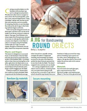 A Jig For Bandsawing Round Objects by Betty Scarpino