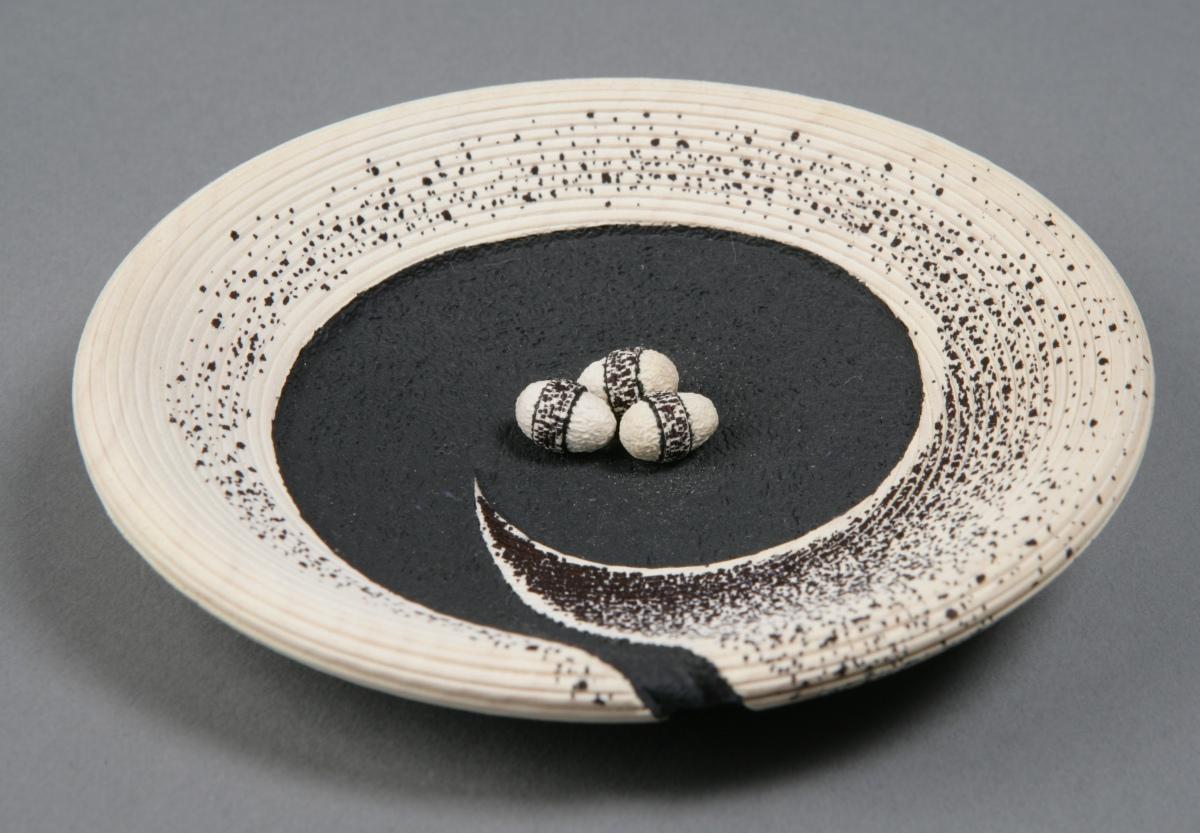 Black, White Egg Bowl by Betty Scarpino